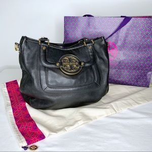 Tory Burch Classic Black Leather Amanda Satchel